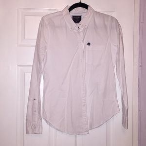 Abercrombie & Fitch White Button Down/Up Shirt/Top
